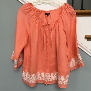 Talbot's linen Boho embroidered bell sleeve blouse